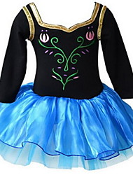 Kid Girl's Frozen Anna/Elsa Long Sleeve Ballet Tutu Dress Kid Gymnastics Leotard Lace Ruffle Dance wear for Age 3~8 Y