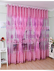 Country Floral Living Room Polyester Sheer Curtains Shades