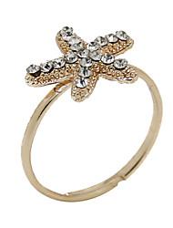 European And American Retro Zircon Diamond Starfish Opening Ring Mermaid