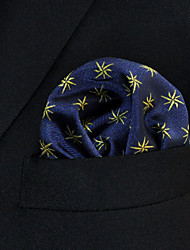 Men's Pocket Square Navy Blue Floral 100% Silk Wedding Business