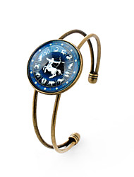 Lureme® Time Gem The Zodiac Series Sagittarius Disc Cuff Bangle Bracelet for Women and Girl