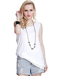 Women's Beach Sexy / Simple Summer Blouse,Solid Round Neck Sleeveless White / Black Rayon Thin