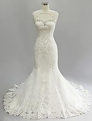 Trumpet/Mermaid Wedding Dress-Ivory Court Train Jewel Lace / Satin / Tulle