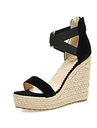 Women's Shoes  Wedge Heel Wedges / Heels / Platform Sandals Party & Evening / Dress / Casual Black / Red / Almond