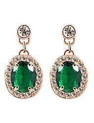 HKTC Elegant Emerald Color AAA+ Oval Crystal  CZ Stone Cute Waterdrop Earrings Best For Women