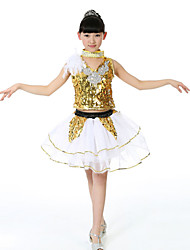 Jazz Children's Fashion Performance Spandex / Sequined Feathers 3 Pieces Outfits