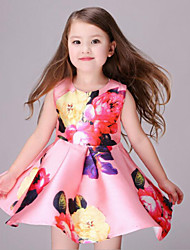 Girl's Black / Pink Dress,Floral Rayon Summer / Spring / Fall