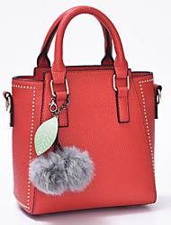 Feminino Couro Ecológico Formal / Casual / Trabalho & Escritório / Compras Bolsa de Ombro / Tote / Bolsa CarteiroRoxo / Azul / Vermelho /