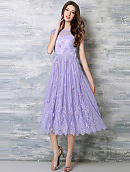 Women's Casual/Daily / Plus Size Vintage / Simple Lace Dress,Jacquard Round Neck Midi Sleeveless Purple Polyester Summer