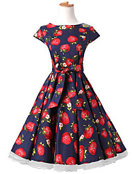 50s Era Vintage Style Cap Sleeves Rockabilly Dress Cosplay Costume Blue Strawberries (with Petticoat)