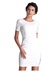 Women's Sexy Floral Bodycon Dress,Round Neck Above Knee Polyester