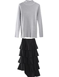 Women's Simple 2Pcs Turtleneck Sweater Multi Layers Black Skirt