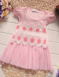 Girl's Pink / White / Yellow Dress Cotton Summer