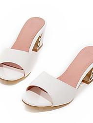 Women's Shoes  Chunky Heel Heels / Peep Toe / Slippers Sandals / Slippers Casual Black / Pink / Purple / White / Almond