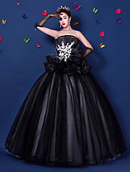 Ball Gown Strapless Floor Length Organza Satin Formal Evening Dress with Appliques