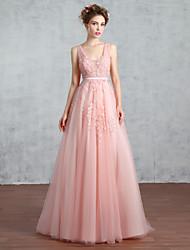 A-line v-neck tribunal trem laço tulle prom formal vestido de noite com beading laço pérola que detalha lantejoulas