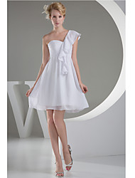 Short / Mini Chiffon Bridesmaid Dress A-line One Shoulder with Ruching