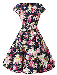 Women's Cap Sleeves Navy Blue Floral Dress , Vintage Cap Sleeves 50s Rockabilly Swing Dress