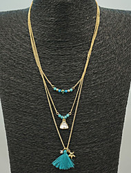 Blue Multilayer Tissue Beads Strands Peandant Necklace