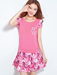 Women's Patchwork Pink / White / Green Set,Round Neck Short Sleeve