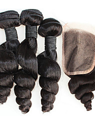 Brazilian loose wave with closure brazilian hair weave bundles 4pcs brazillian hair with closure virgin hair