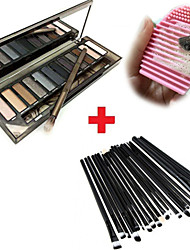 12pcs Makeup Brushes Set Eyeshadow Eyeliner Lip Brush Tool+20Colors Matt Eyeshadow Palette+1PCS Brush Cleaning Tool
