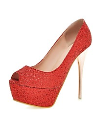 Women's Shoes Glitter/Stiletto Heels/Peep Toe/Platform/Open Toe Wedding Shoes/Party & Evening/Dress Pink