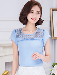 Women's Casual/Daily Simple / Street chic Summer Blouse,Color Block Round Neck Short Sleeve Blue / Red / Yellow / Purple Rayon / Polyester