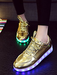 Women's Men's Spring Summer Fall Light Up Shoes Leatherette Outdoor Casual Athletic Flat Heel Lace-up Silver Gold
