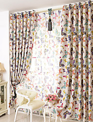 The Butterfly Two Panels Living Room Polyester Blackout Curtains Drapes
