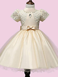 Girl's Pink / White / Yellow Dress Rayon Summer