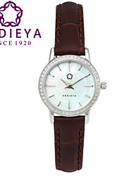 KEDIEYA Brand Watches Women Fashion Round Pearl Quartz Watch AAA Zircon Gems Dress Brown Wrist Watches for Women