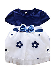 Girl's Plum Blossom Flower Print Spring and Summer Kids Clothes Dresses