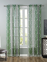 One Panel Modern Floral / Botanical Green Living Room Polyester Sheer Curtains Shades 52 inch Per Panel