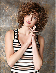Brown Heat-resistant Fiber Barrel Curls Quality Short Synthetic Wig For Women Free shipping