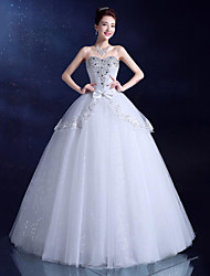 Ball Gown Wedding Dress Floor-length Sweetheart Lace / Satin / Tulle with Bow / Sequin