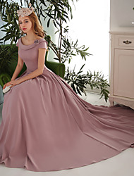 Formal Evening Dress Ball Gown Scoop Court Train Satin with Bow(s) / Flower(s) / Pockets