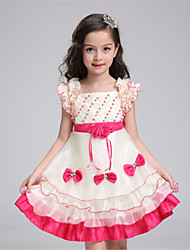 A-line Knee-length Flower Girl Dress - Organza / Satin / Polyester Sleeveless Square with