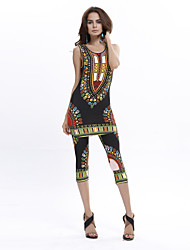 Women's Round Neck Exotic Style Print Sleeveless Clothing Sets(Tank & Capri Tight Pants)