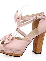 Women's Shoes Leatherette Chunky Heel Peep Toe Sandals Wedding / Office & Career / Party