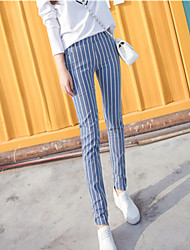 Women's Mid Rise Micro-elastic Jeans Pants,Simple Skinny Striped