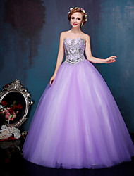 Princess Wedding Dress Wedding Dresses in Color Floor-length Sweetheart Tulle with Beading / Crystal / Sequin