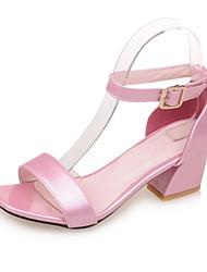 Белый Красный Синий Розовый-Для женщин-Для праздника Повседневный-Дерматин-На толстом каблуке-Удобная обувь-Сандалии