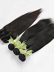 4pcs muito cabelo virgem reta brasileira com fecho de três bundles não transformados brasileiro tecer fio de cabelo humano com fechos de