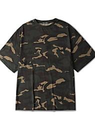 Tee-Shirt Pour des hommes A Motifs Décontracté Manches Courtes Coton Vert