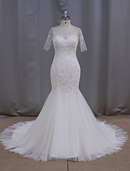 Fit & Flare Wedding Dress Chapel Train Scoop Tulle with Sequin / Appliques / Beading / Button / Pearl