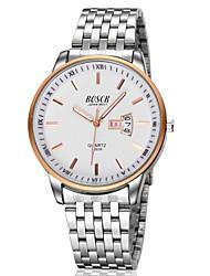 Men's Japanese Quartz Silver Steel Band Water Resistant Calendar Dress Watch Jewelry Cool Watch Unique Watch