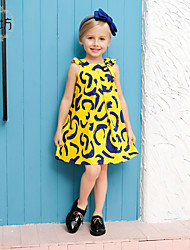 Girl's Yellow Dress,Cartoon Cotton Summer