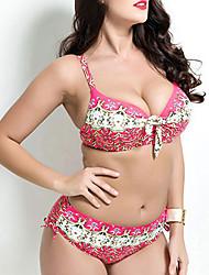 Women's Plus-Size Halter Bikinis,Floral Padded Bras / Underwire Bra Cotton Pink / Blue / Green