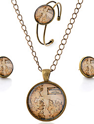 Lureme® Time Gem Series Simple Vintage Style Western Map Pendant Necklace Stud Earrings Bangle Jewelry Sets
